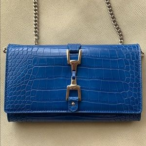 Fantastic Blue leather crocodile print purse